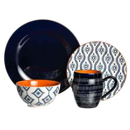 Baum Essex Tangiers Dinnerware Set - 16-Piece in Blue/White - Closeouts