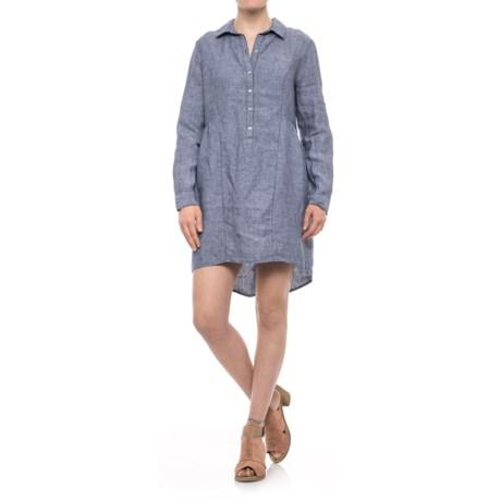 Beacan Cove Linen Shirtdress - Long Sleeve (For Women) in Indigo/White