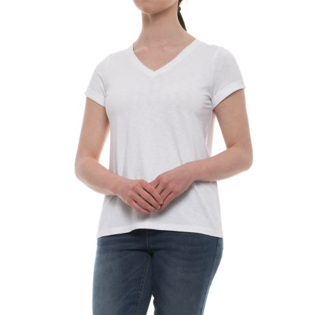 Beacan Cove Modern Slub Roll Cuff Shirt - Modal-Cotton, Short Sleeve (For Women) in White