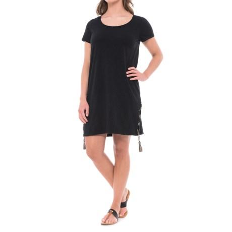Beacan Cove Tasseled T-Shirt Dress - Short Sleeve (For Women) in Black Ground/Royal Muse