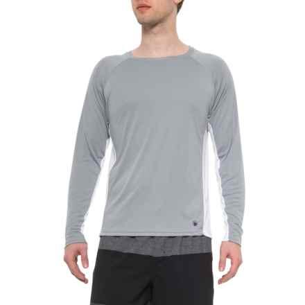 54d1cc6820 Beach Bros Grey-White Side Panel Swim Shirt - UPF 50+, Long Sleeve