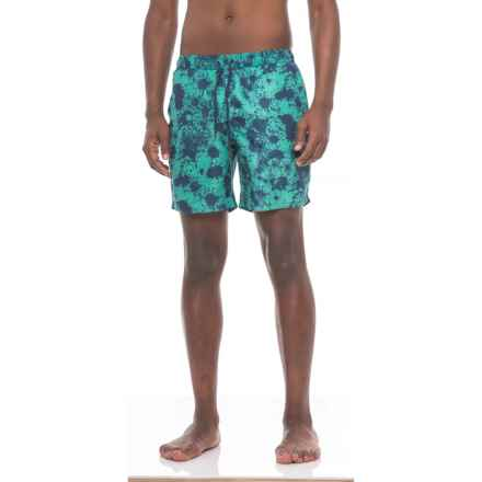 Beach Bros Splatter Paint Swim Trunks - Built-In Mesh Briefs (For Men) in Aqua - Closeouts