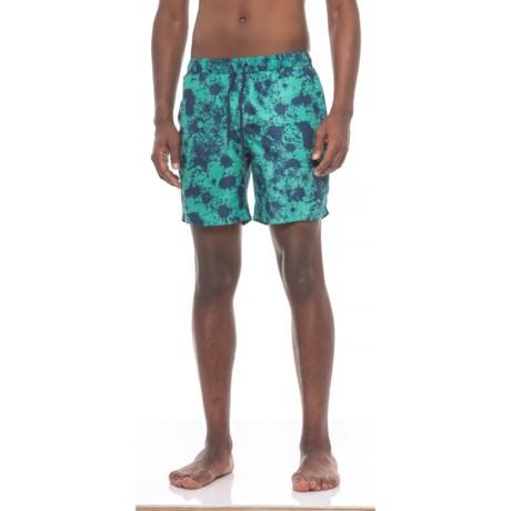 Beach Bros. Splatter Paint Swim Trunks - Built-In Mesh Briefs (For Men) in Aqua