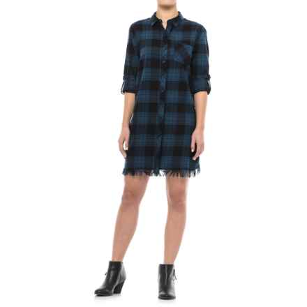 Beach Lunch Lounge Aidra Flannel Shirt Dress - Long Sleeve (For Women) in Blue - Closeouts
