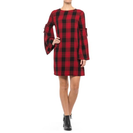 Beach Lunch Lounge Bell Sleeve Dress - Long Sleeve (For Women) in Red