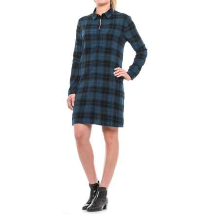 Beach Lunch Lounge Carly Flannel Shirt Dress - Long Sleeve (For Women) in Blue - Closeouts