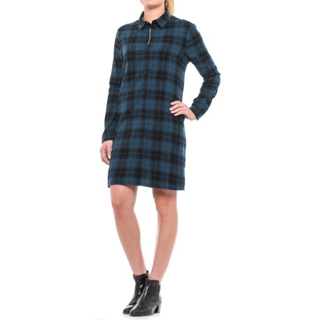 Beach Lunch Lounge Carly Flannel Shirt Dress - Long Sleeve (For Women) in Blue