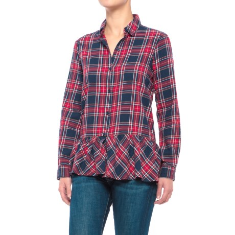 Beach Lunch Lounge Cora Flannel Shirt - Long Sleeve (For Women) in Ruby Navy