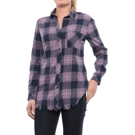 Beach Lunch Lounge Elyse Flannel Shirt - Long Sleeve (For Women) in Lavender Navy