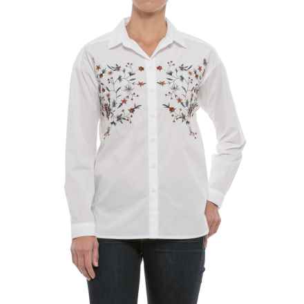 Beach Lunch Lounge Lena Embroidered Shirt - Long Sleeve (For Women) in  White - 1e0d64b5a