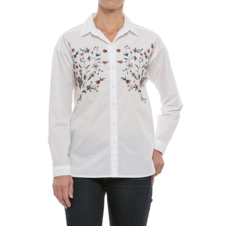 Beach Lunch Lounge Lena Embroidered Shirt - Long Sleeve (For Women) in White