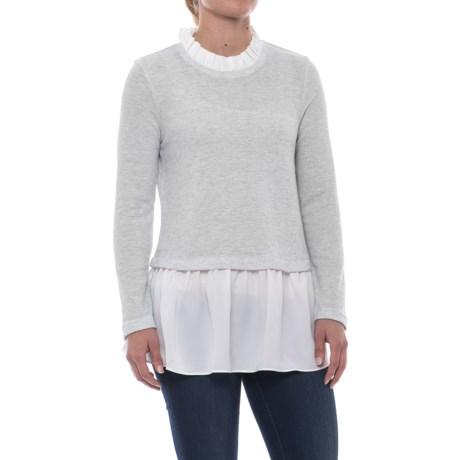 Beach Lunch Lounge Mix Peplum Shirt - Long Sleeve (For Women) in Heather Oatmeal/White