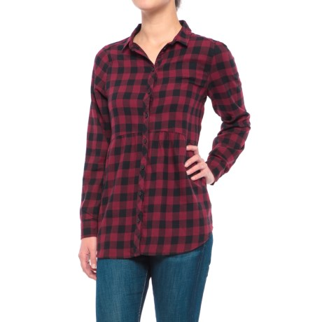 Beach Lunch Lounge Sandie Flannel Shirt - Long Sleeve (For Women) in Black/Red