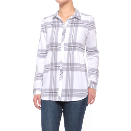 Beach Lunch Lounge Sandie Flannel Shirt - Long Sleeve (For Women) in Cloudy