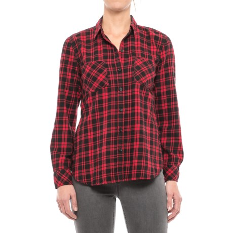 Beach Lunch Lounge Tammy Flannel Shirt - Long Sleeve (For Women) in Red