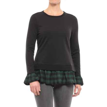 Beach Lunch Lounge Two-Fer Mix Shirt - Long Sleeve (For Women) in Black With Green/Black Buffalo - Closeouts