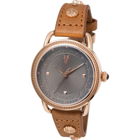 Beaded Bezel Textured Dial Watch - Leather Strap (For Women) - GREY/TAN ( )