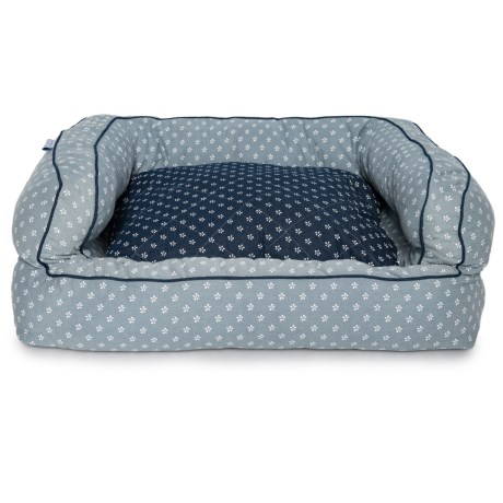 Image of Beaded Diamond Denim Bolster Dog Bed - 36x27?