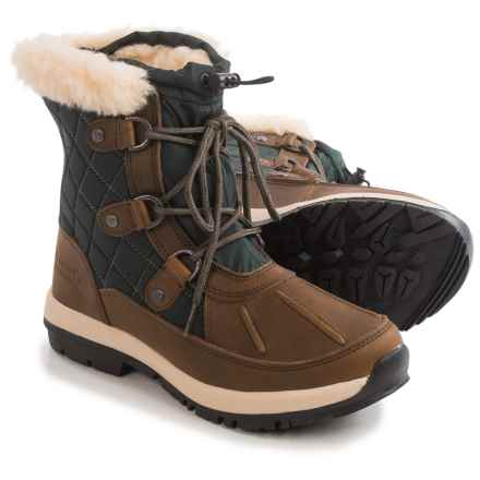 Bearpaw Bethany Apres Leather Snow Boots - Waterproof, Insulated (For Women) in Chocolate/Green - Closeouts