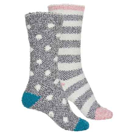Bearpaw Cozy Socks -Crew, 2-Pack (For Women) in Gray Dots/Stripes - Closeouts