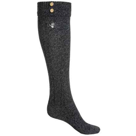 Bearpaw Cuffed Knee-High Socks - Over the Calf (For Women) in Charcoal/Black - Closeouts