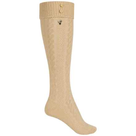 Bearpaw Cuffed Knee-High Socks - Over the Calf (For Women) in Ivory/Tan - Closeouts