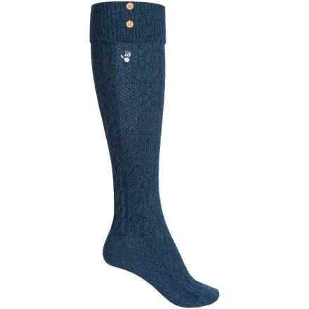 Bearpaw Cuffed Knee-High Socks - Over the Calf (For Women) in Navy/Cobalt - Closeouts