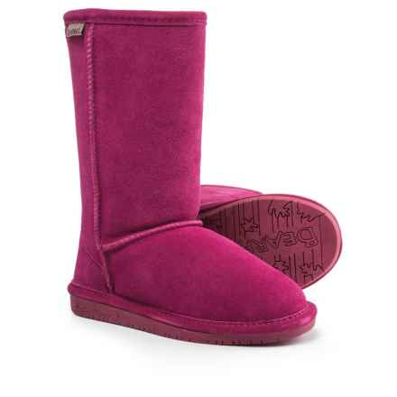 Bearpaw Emma Boots - Suede, Sheepskin (For Kid and Youth Girls) in Pom Berry - Closeouts