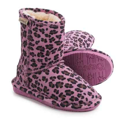 Bearpaw Emma Boots - Suede, Sheepskin (For Toddler Girls) in Pink Leopard/Chocolate - Closeouts