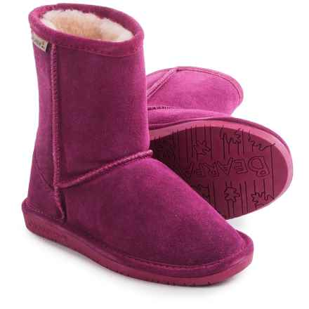Bearpaw Emma Boots - Suede, Sheepskin (For Toddler Girls) in Pom Berry - Closeouts