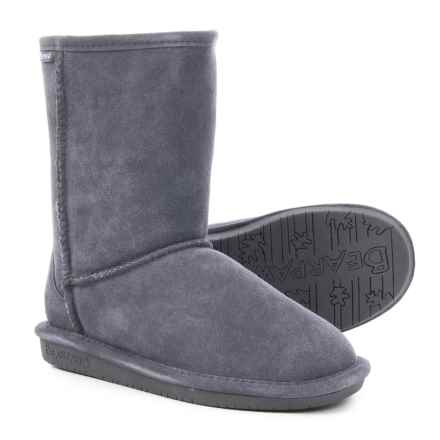 Bearpaw Emma Short Boots - Sheepskin Lined, Suede (For Women) in Charcoal - Closeouts