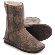 Bearpaw Emma Short Boots - Sheepskin Lined, Suede (For Women) in Natural Snake - Closeouts