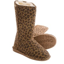 Bearpaw Emma Tall Boots - Suede, Sheepskin-Lined (For Women) in Hickory Leopard - Closeouts