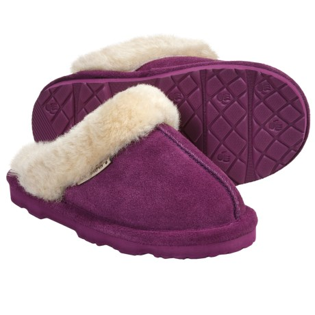 Bearpaw Loki II Slippers - Suede, Sheepskin Lining (For Kids and Youth) in Boysenberry