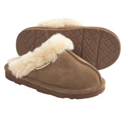 Bearpaw Loki II Slippers - Suede, Sheepskin Lining (For Kids and Youth) in Navy