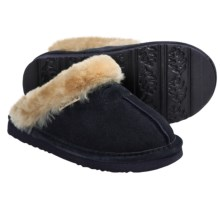 Bearpaw Loki II Slippers - Suede, Sheepskin Lining (For Kids and Youth) in Navy - Closeouts