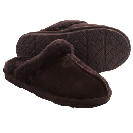 Bearpaw Loki II Slippers - Suede, Sheepskin Lining (For Women) in Chocolate Ii