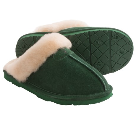 Bearpaw Loki II Slippers - Suede, Sheepskin Lining (For Women) in Emerald