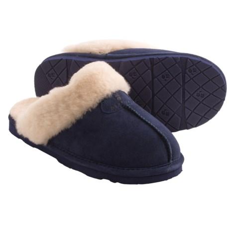 Bearpaw Loki II Slippers - Suede, Sheepskin Lining (For Women) in Indigo