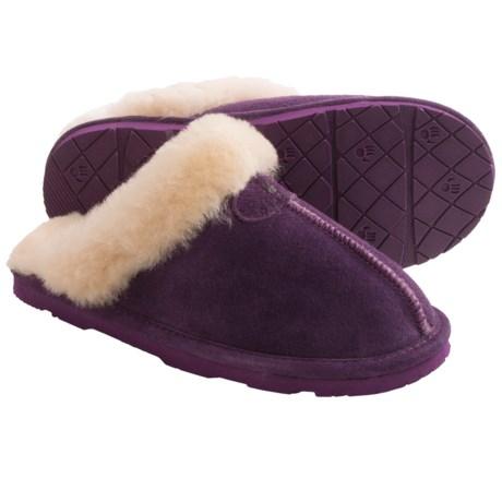 Bearpaw Loki II Slippers - Suede, Sheepskin Lining (For Women) in Winterberry