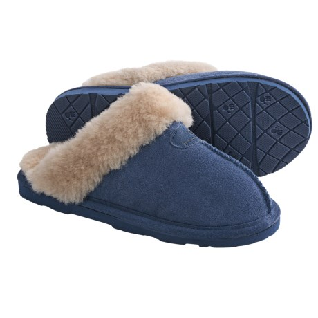 Bearpaw Loki II Slippers - Suede, Sheepskin Lining (For Women) in Winterblue