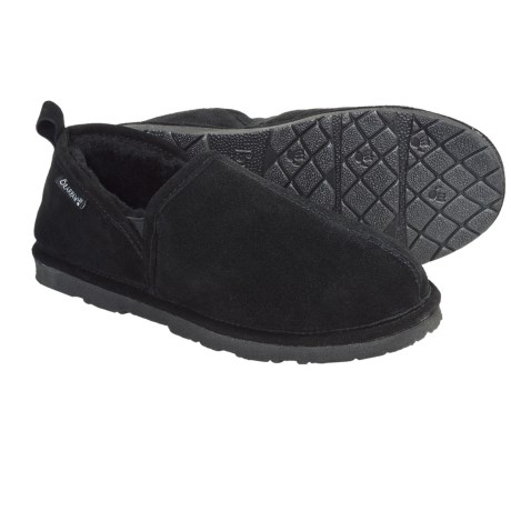 Bearpaw Romeo II Slippers - Suede, Sheepskin Lining (For Men) in Charcoal