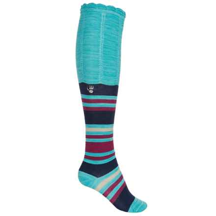 Bearpaw Scrunch Knee-High Socks - Over the Calf (For Big Girls) in Teal Stripe - Closeouts