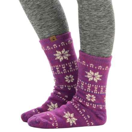 Bearpaw Sherpa-Lined Slipper Socks - Crew (For Women) in Fuchsia/Lavender - Closeouts