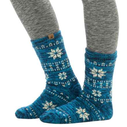 Bearpaw Sherpa-Lined Slipper Socks - Crew (For Women) in Navy/Cobalt - Closeouts