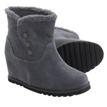 Bearpaw Twill Sheepskin Wedge Boots (For Women) in Charcoal - Closeouts