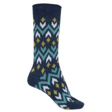 Bearpaw Zigzag Midweight Socks - Crew (For Women) in Navy - Closeouts