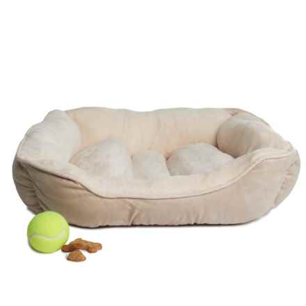 "Beatrice Home Fashions Cuddler Dog Bed - 24x18x6"" in Taupe/Ivory - Closeouts"