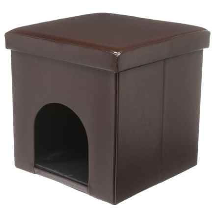 """Beatrice Home Fashions Foldable Pet House Ottoman - 15"""" in Chocolate - Closeouts"""