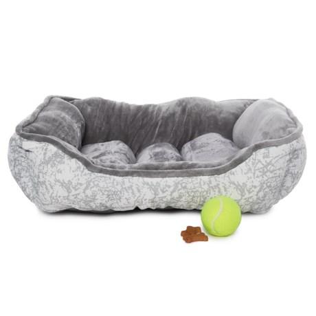 "Beatrice Home Fashions Splash Metallic Cuddler Dog Bed - 24x20"" in Silver"
